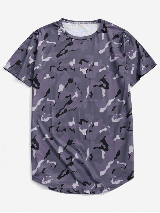online Camouflage Print Leisure Short Sleeves T-shirt - DULL PURPLE XS