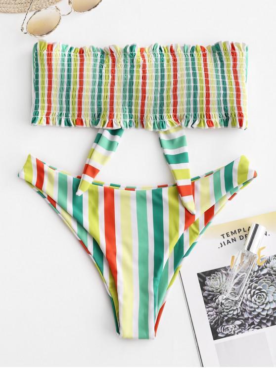ladies ZAFUL Colorful Striped Frilled Smocked Bikini Set - MULTI-B M