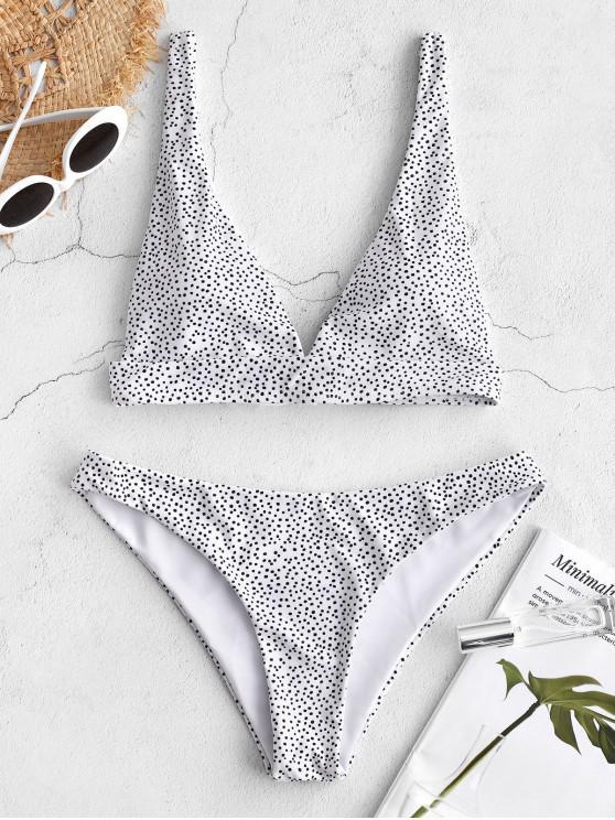 ladies ZAFUL Polka Dot Tie Back Bikini Set - WHITE L