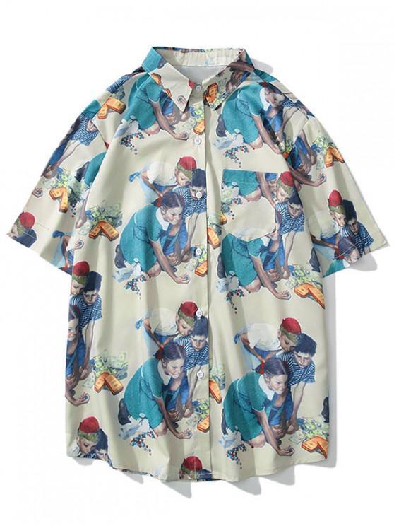 lady Human Pattern Short Sleeves Shirt - WHITE XL