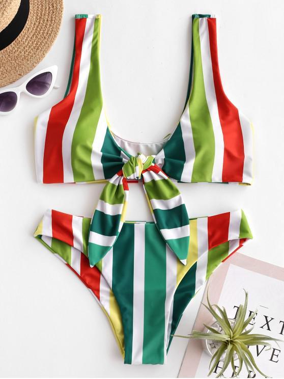 outfits ZAFUL Colorful Striped Tie Front Bikini Set - MULTI-B L