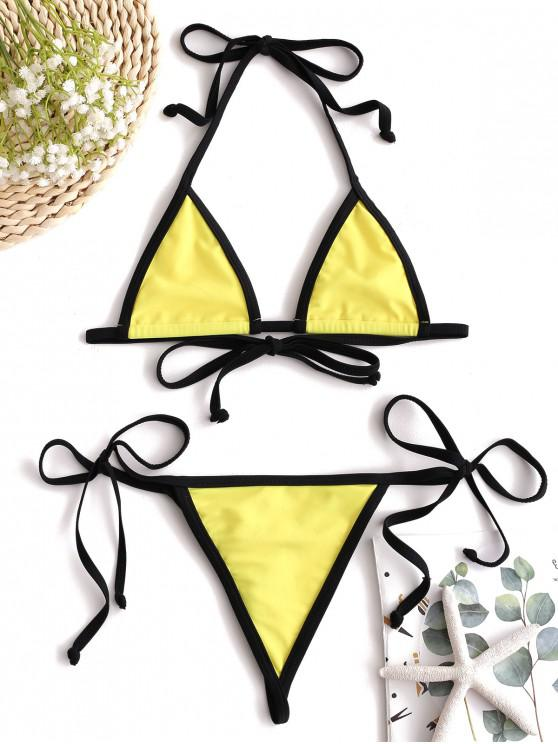 ladies ZAFUL Contrast Trim Micro Bikini Set - YELLOW S