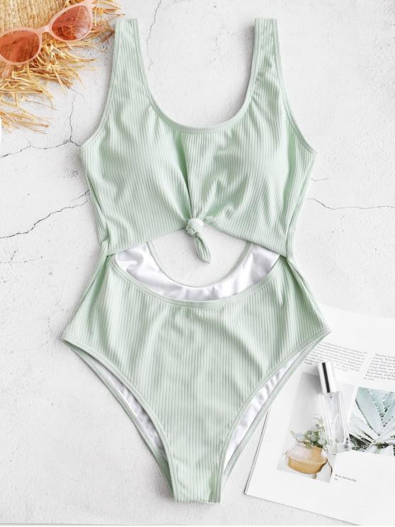 chic ZAFUL Textured Knotted Monokini Swimsuit - MINT GREEN M