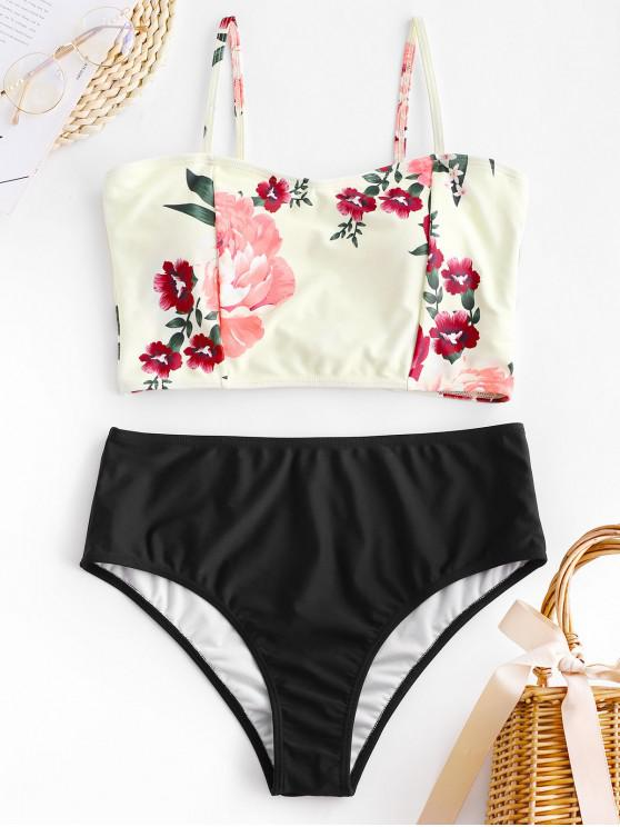 fancy ZAFUL Bowknot Floral Tankini Set - BLACK S