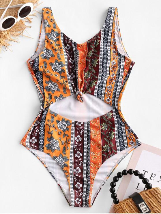 women's ZAFUL Knot Bohemian Cutout One-piece Swimsuit - MULTI-A XL