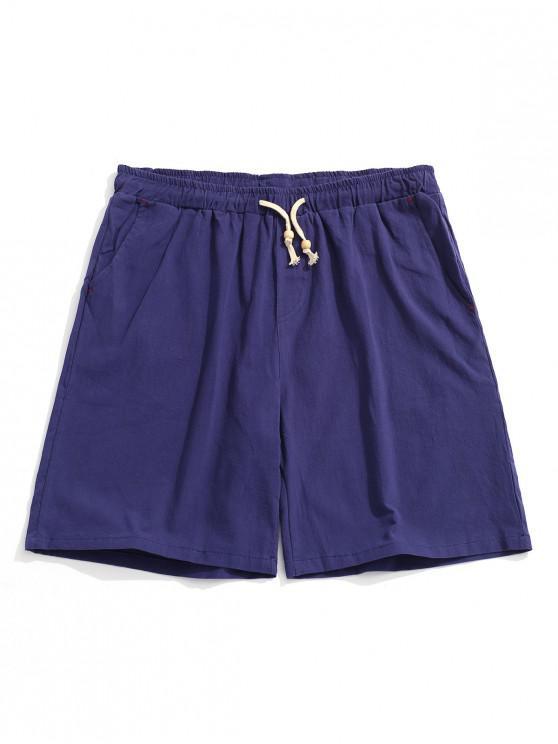 sale Elastic Solid Color Drawstring Shorts - COBALT BLUE M