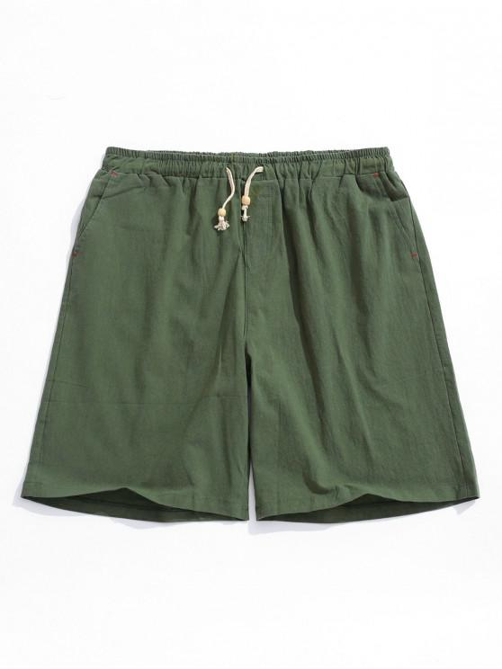 latest Elastic Solid Color Drawstring Shorts - ARMY GREEN XS