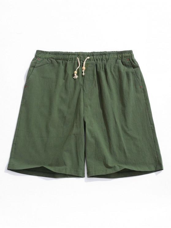 fashion Elastic Solid Color Drawstring Shorts - ARMY GREEN M