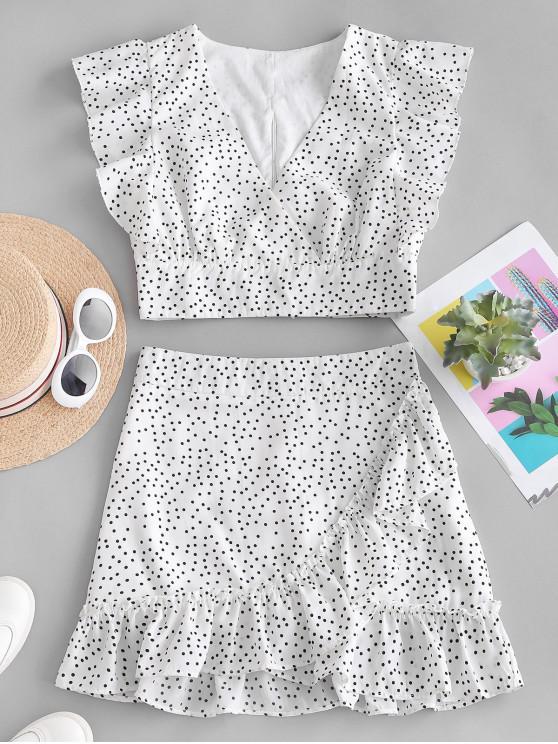 womens Polka Dot Plunging Ruffle Skirt Set - WHITE L