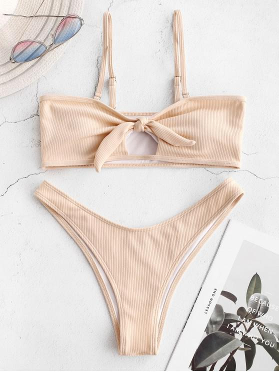 chic ZAFUL Knot Cutout Ribbed Bikini Set - BLANCHED ALMOND M