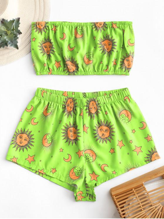 ladies ZAFUL Star Sun and Moon Bandeau Top And Shorts Set - GREEN YELLOW XL