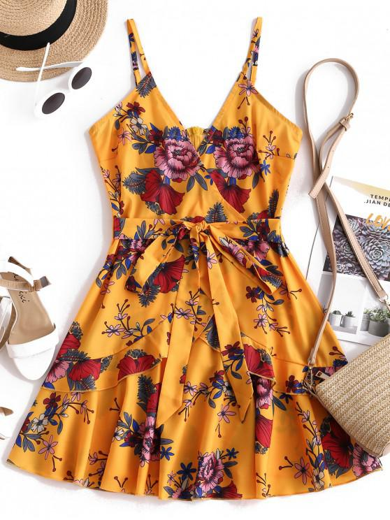 hot ZAFUL Ruffles Knotted Floral Cami Dress - BEE YELLOW XL