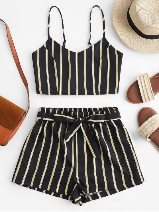 unique ZAFUL Striped Cami Belted Shorts Set - BLACK M