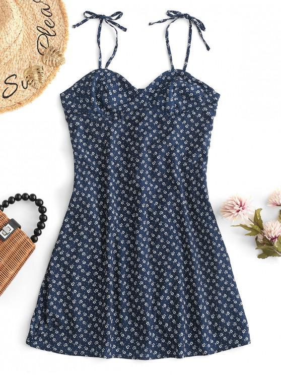 womens Smocked Back Tiny Floral Mini Dress - BLUE M