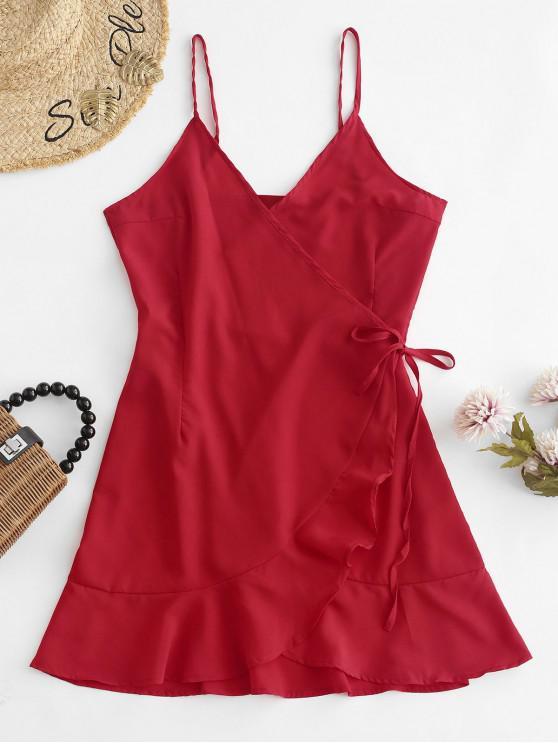 Babados, envoltório, cami, mini, vestido - Vermelho S