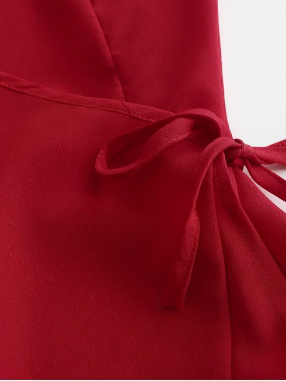 Robe Enveloppée Bretelle À Mini VolantsRouge S WH2IYe9bED