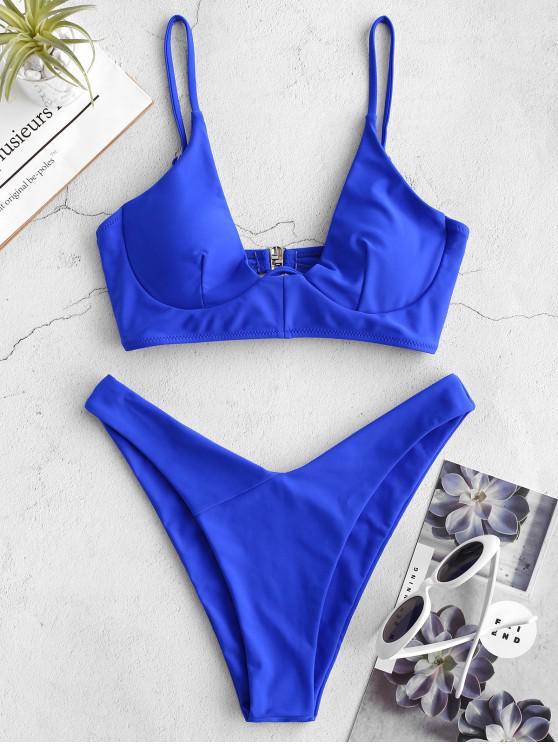 sale ZAFUL Underwire Neon Bikini Set - COBALT BLUE L