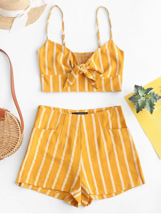 fashion ZAFUL Smocked Knotted Stripes Top And Shorts Set - GOLDENROD M