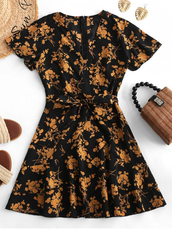 chic Floral Print Ruffles Belted Surplice Dress - MULTI S