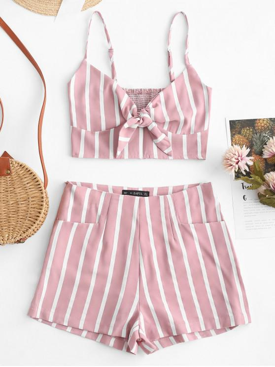 unique ZAFUL Smocked Knotted Stripes Top And Shorts Set - PINK M