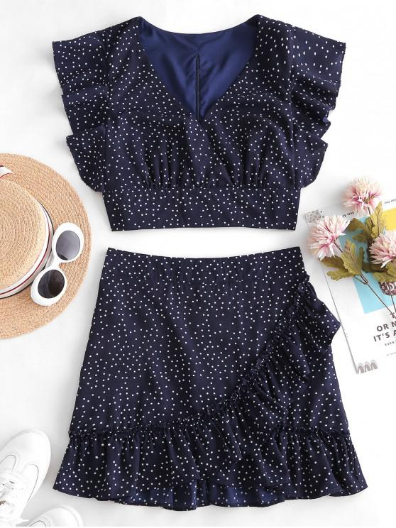 affordable Polka Dot Plunging Ruffle Skirt Set - MIDNIGHT BLUE L