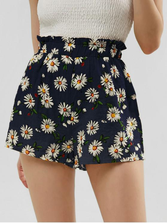 outfits ZAFUL Frilled High Waisted Floral Shorts - DARK SLATE BLUE M
