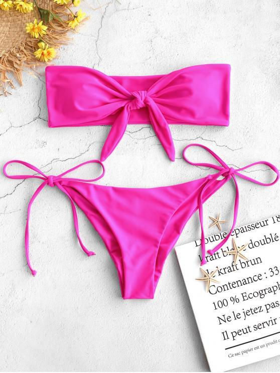 affordable ZAFUL Tie Side Scrunch Butt Bandeau Bikini Set - NEON PINK L