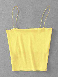 Ribbed Cropped Cami Top - Yellow