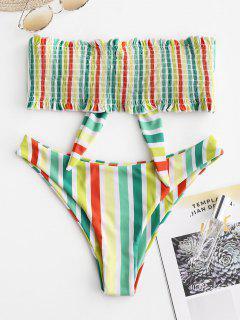 ZAFUL Colorful Striped Frilled Smocked Bikini Set - Multi-b M