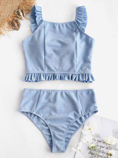 ZAFUL Frilled Bowknot Ribbed Tankini Set - Jeans Blue M