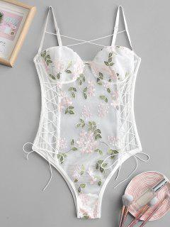 Flower Embroidered Lace Up Mesh Teddy - Multi-c L