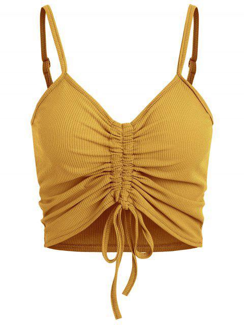 fashion Drawstring Ruched Crop Cami Top - ORANGE GOLD L Mobile