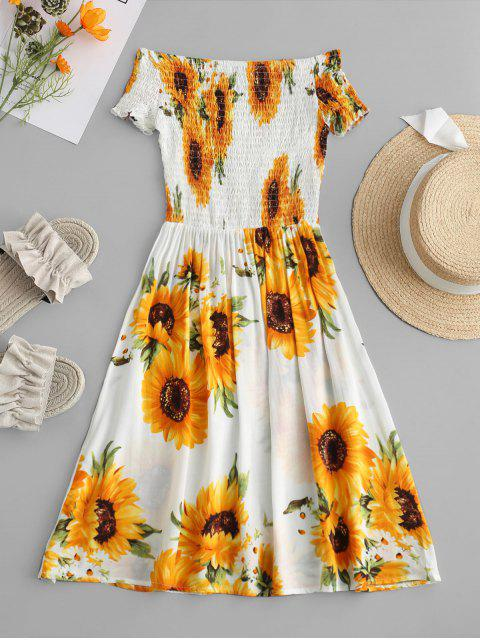 women ZAFUL Smocked Sunflower Off Shoulder Dress - YELLOW S Mobile