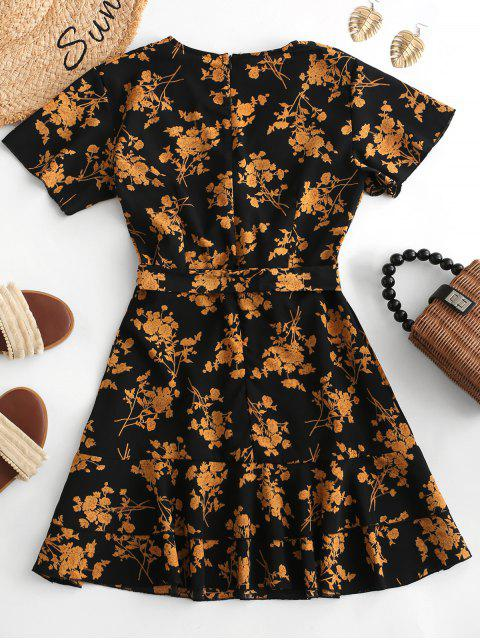 chic Floral Print Ruffles Belted Surplice Dress - MULTI S Mobile