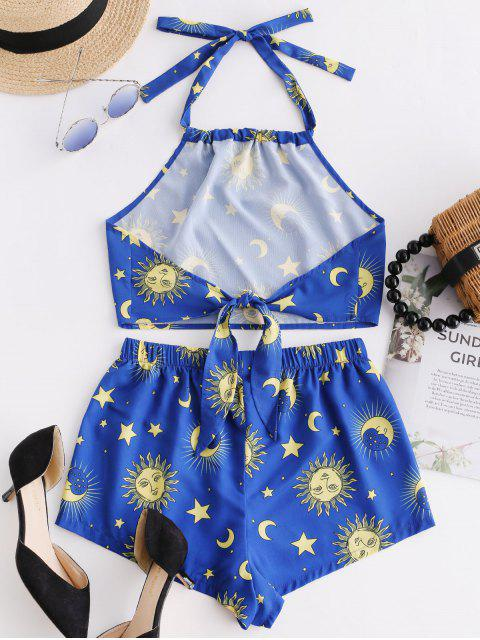 sale ZAFUL Knotted Star Moon And Sun Top And Shorts Set - OCEAN BLUE L Mobile