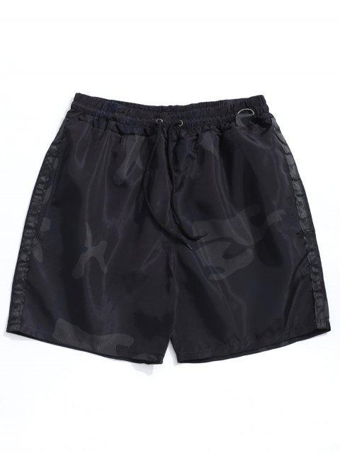 Shorts de cordón con estampado de camuflaje - Negro M Mobile