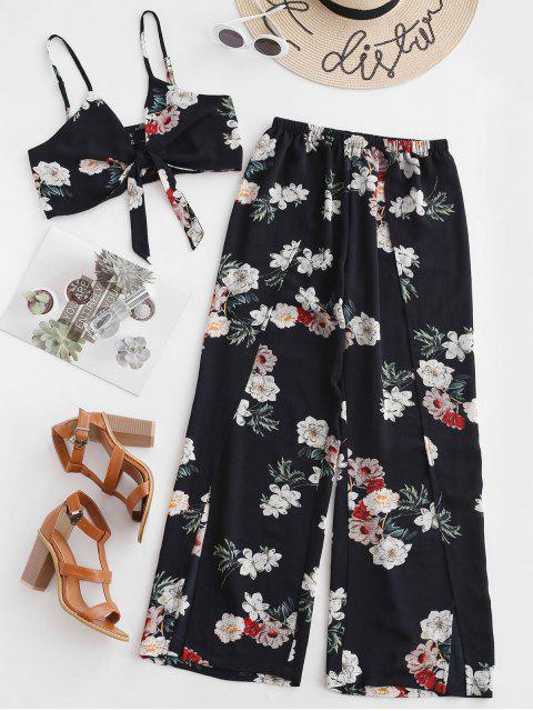 chic ZAFUL Floral Knotted Top And Slit Wide Leg Pants Set - BLACK S Mobile