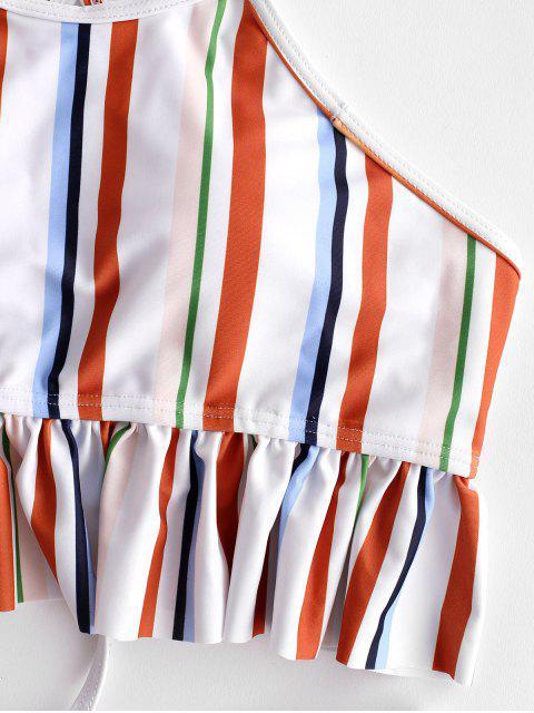 ZAFUL conjunto de tankini a rayas con pliegues - Multicolor-A L Mobile