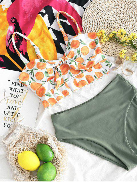 ZAFUL Ensemble de Tankini Péplum Noué Orange Imprimée - Vert Mer L Mobile
