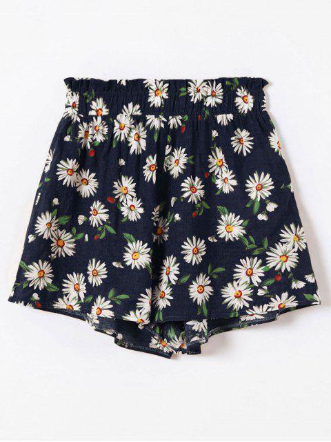 shops ZAFUL Frilled High Waisted Floral Shorts - DARK SLATE BLUE L Mobile