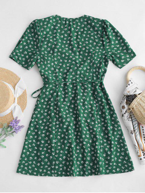 fashion Short Sleeve Floral Wrap Mini Dress - GREEN S Mobile