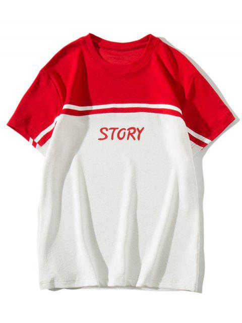 womens Story Letter Print Color Block Panel T-shirt - RED L Mobile