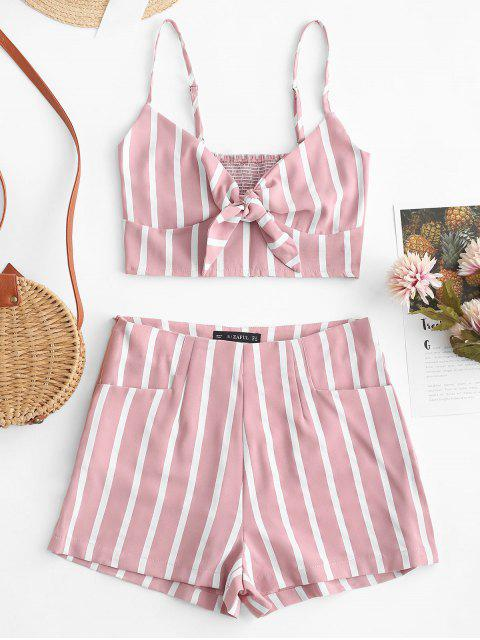 fancy ZAFUL Smocked Knotted Stripes Top And Shorts Set - PINK S Mobile