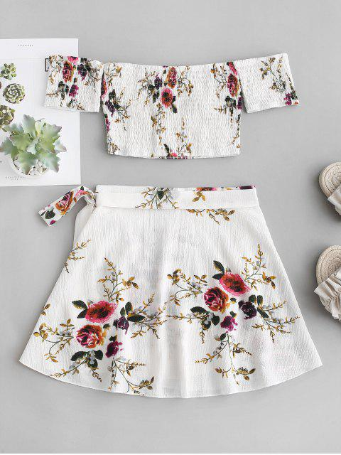 chic Floral Smocked Off Shoulder Wrap Skirt Set - WHITE M Mobile