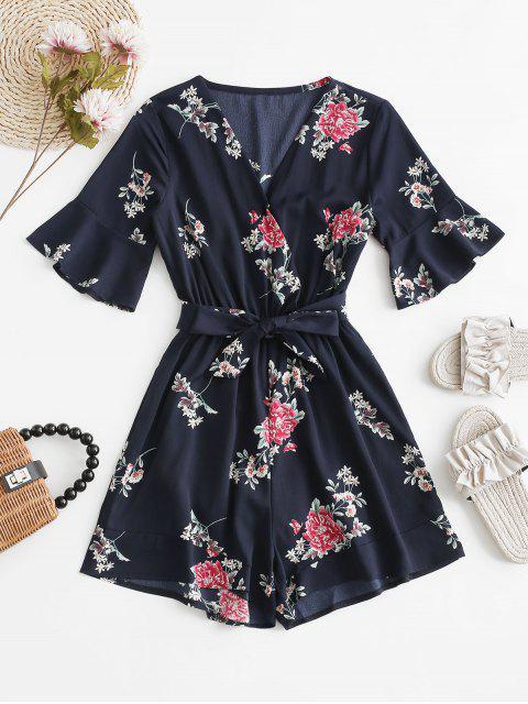 buy Belted V Neck Floral Romper - MIDNIGHT BLUE M Mobile