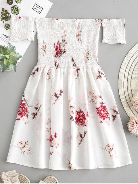 outfits Floral Smocked Off Shoulder Mini Dress - WHITE M Mobile