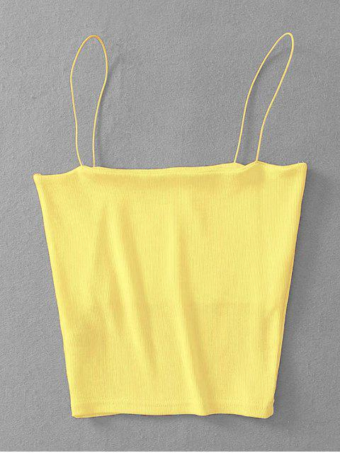 shop Ribbed Cropped Cami Top - YELLOW ONE SIZE Mobile