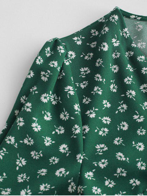 Mini-Robe Enveloppée Fleurie à Manches Courtes - Vert L Mobile