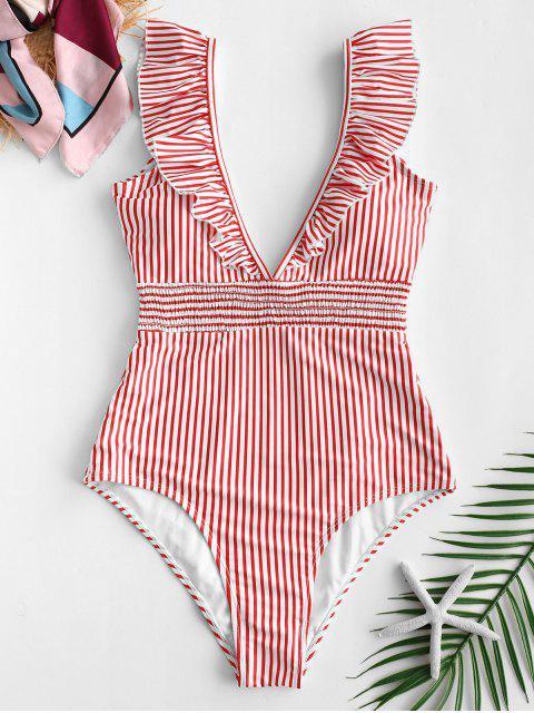 ZAFUL Ruffle Shirred Stripe Swimsuit - Rojo Rosa XL Mobile