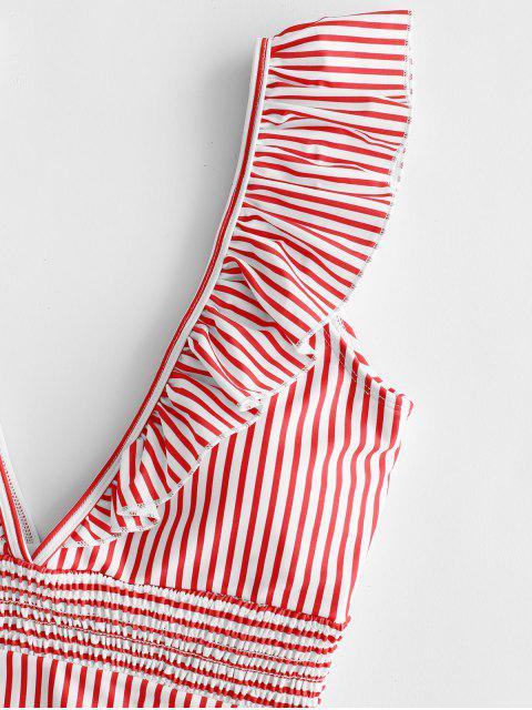 buy ZAFUL Ruffle Shirred Stripe Swimsuit - ROSSO RED L Mobile